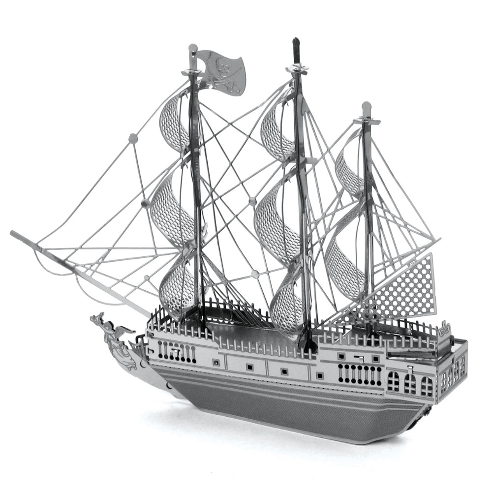 Siyah Inci 3D Metal Bulmaca Gemi Modeli Paslanmaz Çelik Montaj Oyuncaklar Eğitici Oyuncaklar Bilmecenin Çocuklar Için