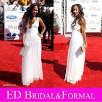 Meagan Good Dress V Neck Cutout White Open Back Evening Dress 2012 BET Awards Red Carpet