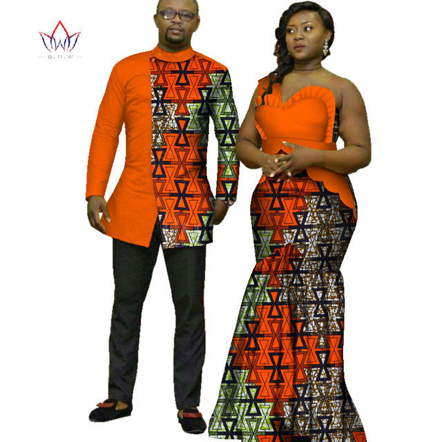 be3b36ed71e 2018 African Print Clothes for Couple Dashiki elegant lady party Dresses  and men shirts cotton African Clothing WYQ125