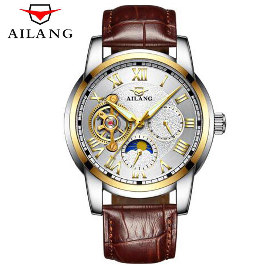 AILANG Famous Brand Watch 2018 New Luxury Men Automatic Mechanical Watches Rose Gold Case Blue Dial Leather Strap Moon Phase