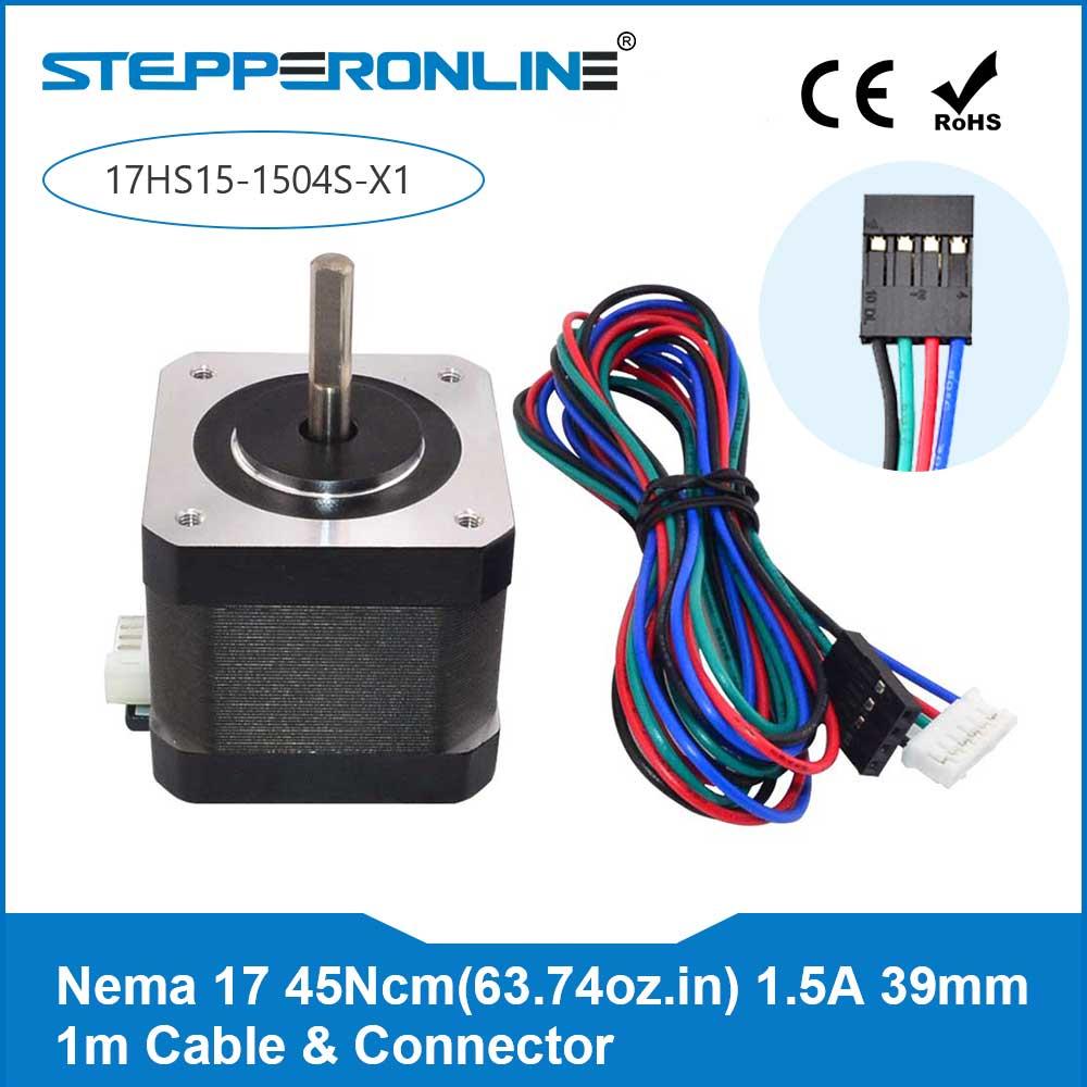 Free Ship! 1PC 4-lead Nema 17 Stepper Motor 1.5A (17HS4401) Nema17 Step Motor 12V 39mm w/1m Cable & Connector CNC XYZ/3D PrinterFree Ship! 1PC 4-lead Nema 17 Stepper Motor 1.5A (17HS4401) Nema17 Step Motor 12V 39mm w/1m Cable & Connector CNC XYZ/3D Printer