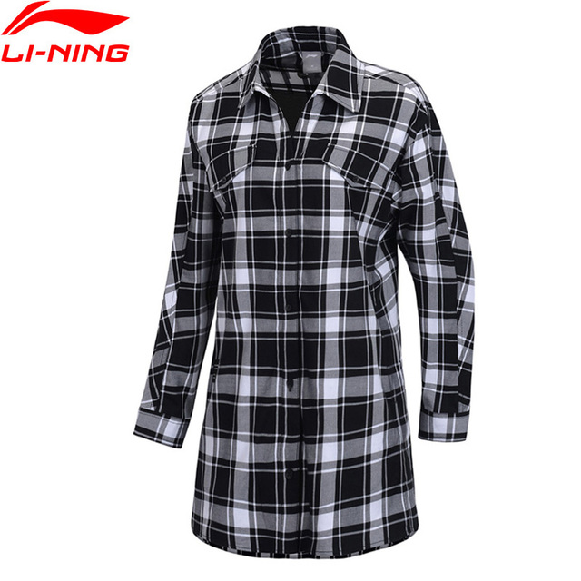 Li-Ning Women The Trend Long Sleeve Shirt Loose Fit 100% Cotton Plaid Pattern LiNing Fitness Sports Blouses ASHP002 WCL1667