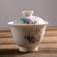 2 UNIDS Sancai Gai Wan grande sopera tetera Jingdezhen de porcelana blanca Kung Fu drinkware