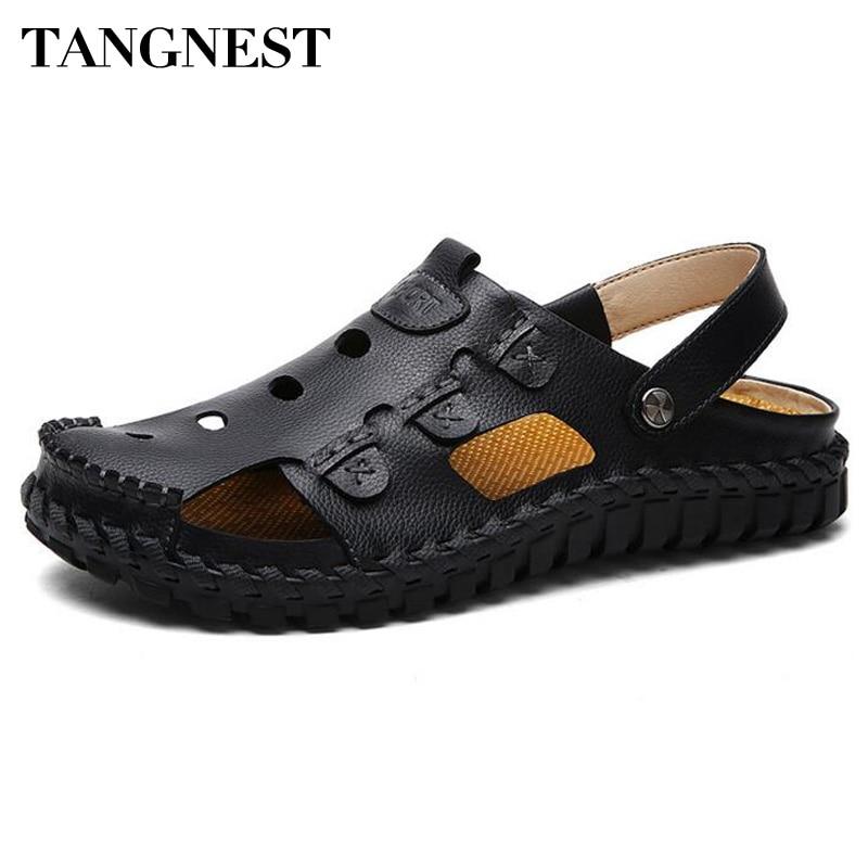 Tangnest Brand Men Sandals High Quality Genuine Leather Gladiator Sandals Man Cut-out Shallow Flat Shoes Man Slides XML205