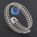 New Design Women elastic rope metal bangle opening wire wrap ladies bracelets silver and black gun plated