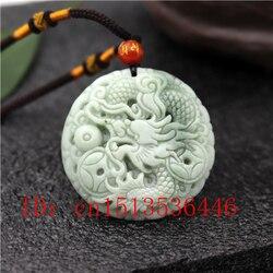 Doğal çin ejderha oyma yeşim kolye beyaz yeşil kolye mücevherat moda şanslı muska hediyeler kadınlar için adam M02