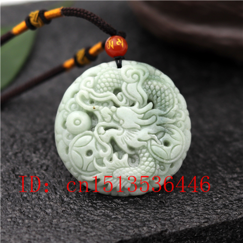 Natural hand engraving exquisite white jade 福 dragon lucky pendant