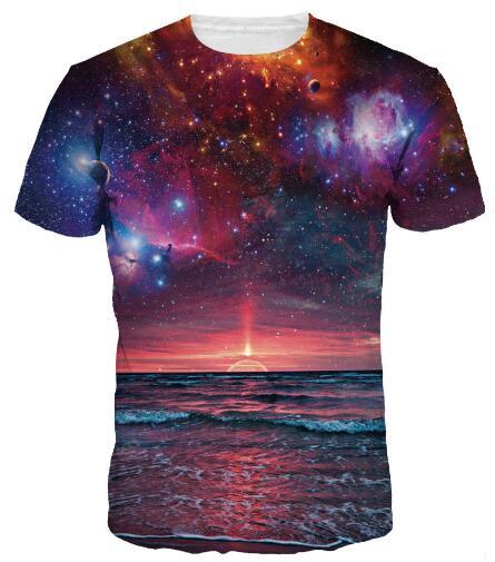 promo code 5e8bd eb5de US $9.0 |Donne Uomo moda camicie 3D Harajuku Nebulosa Spazio Galassia t  shirt supernatural Magliette magliette tees girocollo Casual Streetwear in  ...