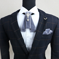 Free Shipping new MEN's male Handmade banquet pattern diamond tie knot British show wedding groom Groomsmen flower Pocket Square