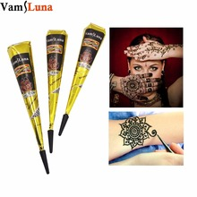 3X Black Henna Cones Tattoo Ink Tube Natural Indian Temporary Tattoos For Women & Men Mehendi Body Art Painting