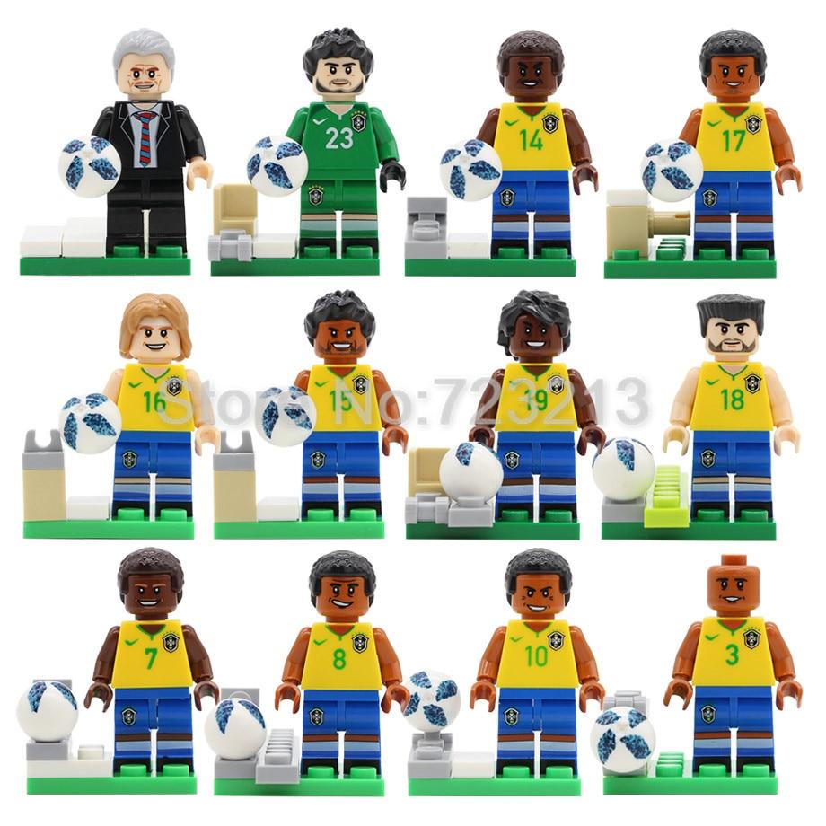 12pcs 2018 Brazil NATIONAL Football Player Team Figure Set Sport Coach with Goal Building Blocks Set Model Bricks Kits Toys