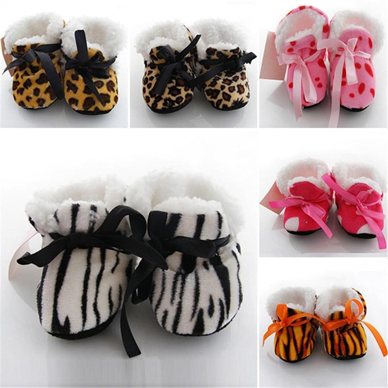 Leopard-Zebra-Toddler-Kids-Fleece-Fur-Boots-Baby-Shoes-Winter-Laced-Ankle-Socks-3