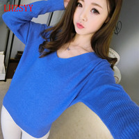 2016New Spring And Autumn Female Cashmere Sweater V Neck Loose Big Yards Bat Sleeve Sweater Knit
