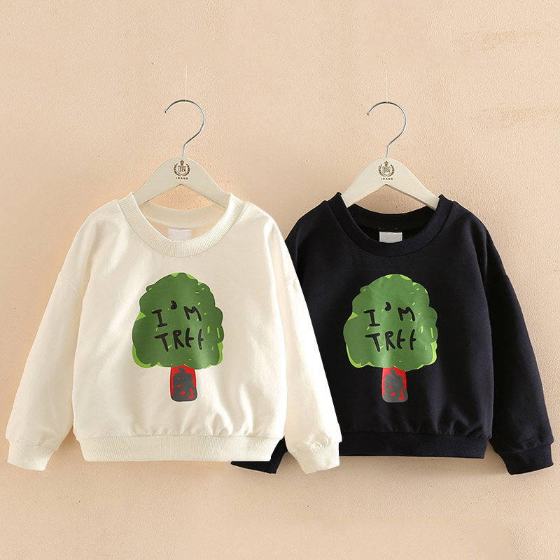 Boys Sweatshirt Cotton T Shirt for Girls Cartoon Tree Outerwear 3-10 Years Big Kids Clothes Autumn Teenager Tops Tees Clothes