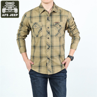AFS JEEP Brand 2017 Mens Shirts Plaid Casual Shirt Long Sleeve 100 Cotton Camiseta Masculina Slim