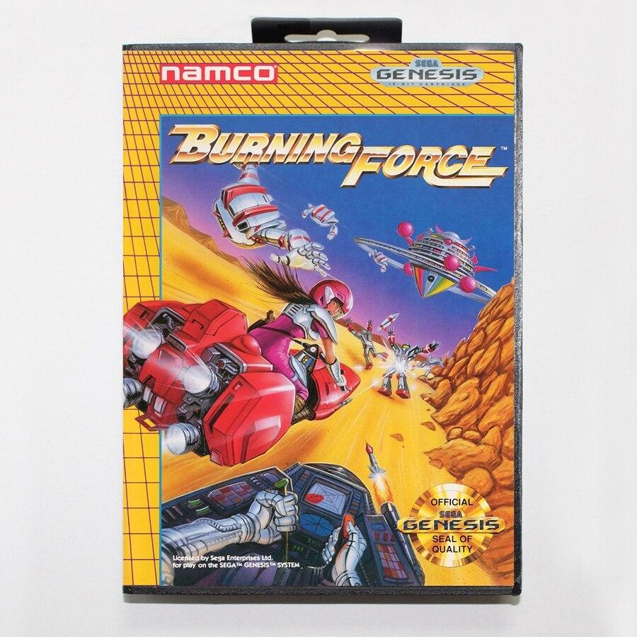 16 bit Sega MD game Cartridge with Retail box – Burning Force game card for Megadrive Genesis system