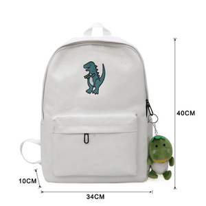 Image 2 - 2020 women embroidery dinosaur backpack bags lovely tassel school bags travel bags for girls drop shipping M453