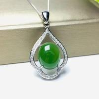 Yu Xin Yuan Natural Jasper Pendant 925 Silver Inlaid Necklace Charm Women Silver Jewelry