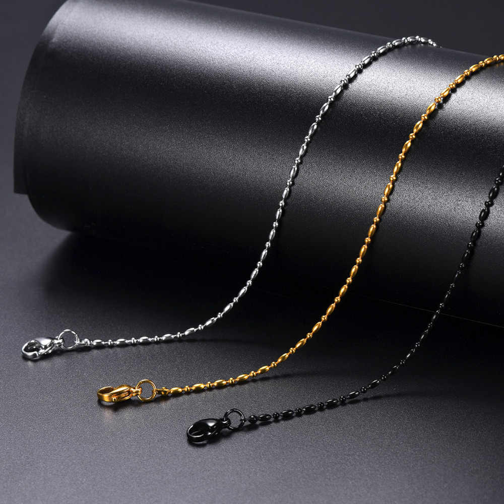 Rice and Ball Beads Link Chain Necklace for Mens Womens,Pendant Necklace Accessory,Stainless Steel Chain ,18-30 in,1.5mm