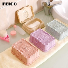FEIGO Hot Sale Romantic Rose carved Soap Dish Box Case Holder Wash Dust-proof Shower Home Bathroom Accessories Set F24