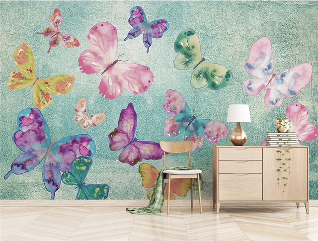 US $27.49 45% OFF|Aliexpress.com : Buy Custom Wallpaper for Walls 3 d  Nostalgic Butterfly Dancing 3d Photo Wallpaper for Living Room Thicken  Mural ...