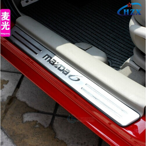 mazda 6 stainless steel door sill plate door sill scuff plate car cover car accessories. Black Bedroom Furniture Sets. Home Design Ideas