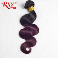 Rxy Ombre Brazilian Hair Weave Bundles Body Wave 1b Burgundy Two Tone Human Hair Extensions 1