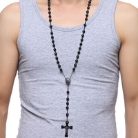 Meaeguet 76cm Chain Black Stainless Steel Bead Chain Rosary Jesus Christ Cross Pendant Long Charm Necklace