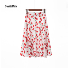 ФОТО susi&rita vintage floral skirt women summer casual pleated skirts 2018 elegant ladies midi skirt saia faldas mujer