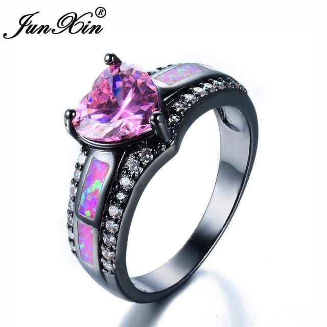 Relatively JUNXIN Romantic Female Princess Pink Fire Opal Heart Ring Black  VK87
