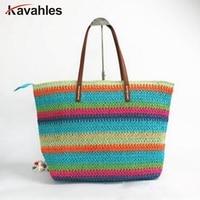 a8aef588c 2019 Fashion Women Stripe Crossbody Bags Women Large Straw Handbags Sale  Color Stripe Summer Bag Casual