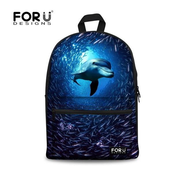 2016 Preppy Style 3D Animal School Bag Dolphin Shark Print Boys Schoolbag Fashion Mochilas School Kids Students School Backpack
