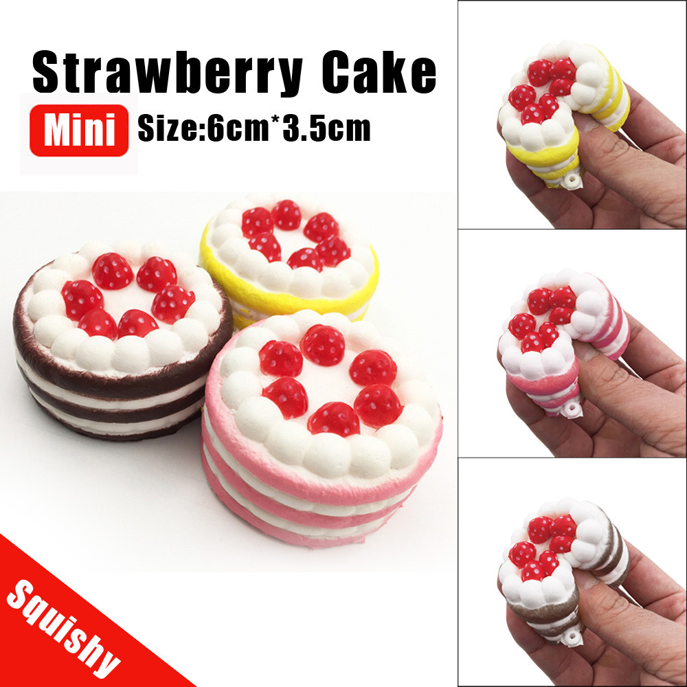 Mini Squishy Slow Rising Strawberry Cake Jumbo Kawaii Phone Strap Bread Stretchy Fun Gift Cute Sweet Cream Scented Kids Cure Toy