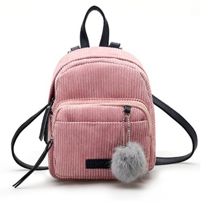 Fation Cute Women Lady Corduroy Backpack Teenagers Backpack  Fuzzy Ball  Female Travel Bags Mini Backpacks Pink