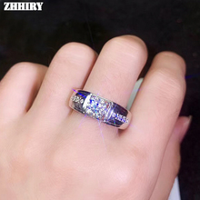 цена ZHHIRY Genuine Moissanite 925 Sterling Silver Ring For Women Or Men 1ct 6.5mm D VVS Round Cut Gemstone Fine Jewelry онлайн в 2017 году