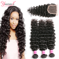 8A Brazilian Hair Weave Bundles With Closure Deep Curly Brazilian Hair With Closure Brazilian Deep Wave 3 Bundles With Closure