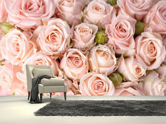 Buy custom photo wallpaper bright pink roses 3d wall murals wallpaper for - Chambre vintage rose ...