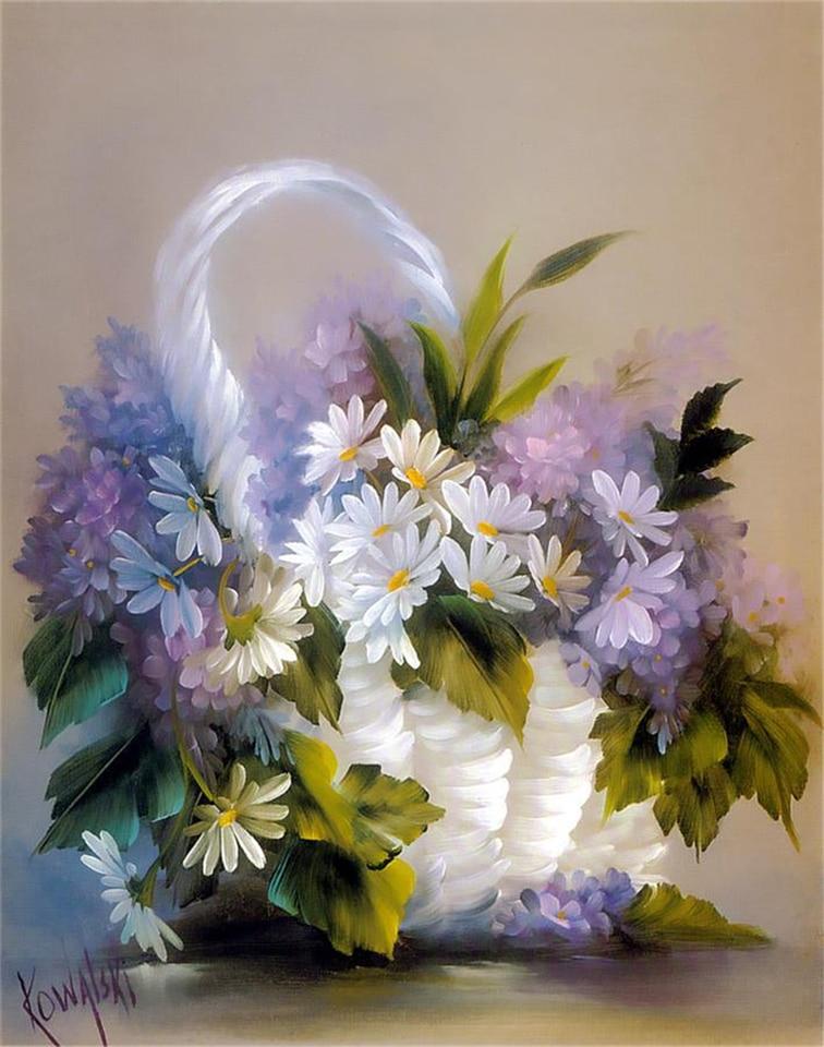 ZXMPGYH Malen 3D Blumen malen 5 Panel Bild Handgemalte abstrakte wei/ße Blumen Gem/älde auf Leinwand gro/ß