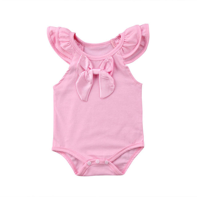Cute Infant Baby Girls Bodysuits Sleeveless Summer Clothes Bowknot Bodysuit  Sunsuit Outfits Pink Red White Bodysuits 0-24M 3450f487e