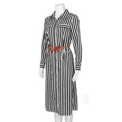 Kobiety na co dzień Sukienka w paski drukowane długie rękawy luźne przycisk bandaż pas koszulka długa Sukienka vestidos moda Sukienka 4