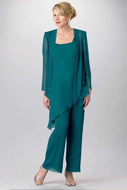 2017 Chiffon Pant Suits for Mother of the Bride Teal Green Ankle ...