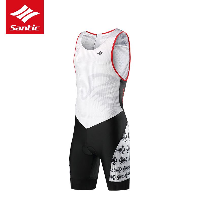 Santic New Arrival Men Triathlon Pro Cycling Jersey Sleeveless Cycling Skinsuit One-piece Racing Bicycle Jersey maillot ciclismo цена и фото