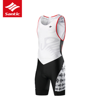 Santic New Arrival Men Triathlon Pro Cycling Jersey Sleeveless Cycling Skinsuit One piece Racing Bicycle Jersey maillot ciclismo