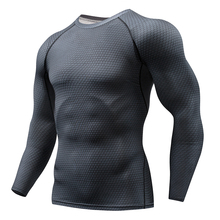2019 new fast dry compression shirt long-sleeved T-shirt XL fitness clothes solid color Crossfit bodybuilding sportswear