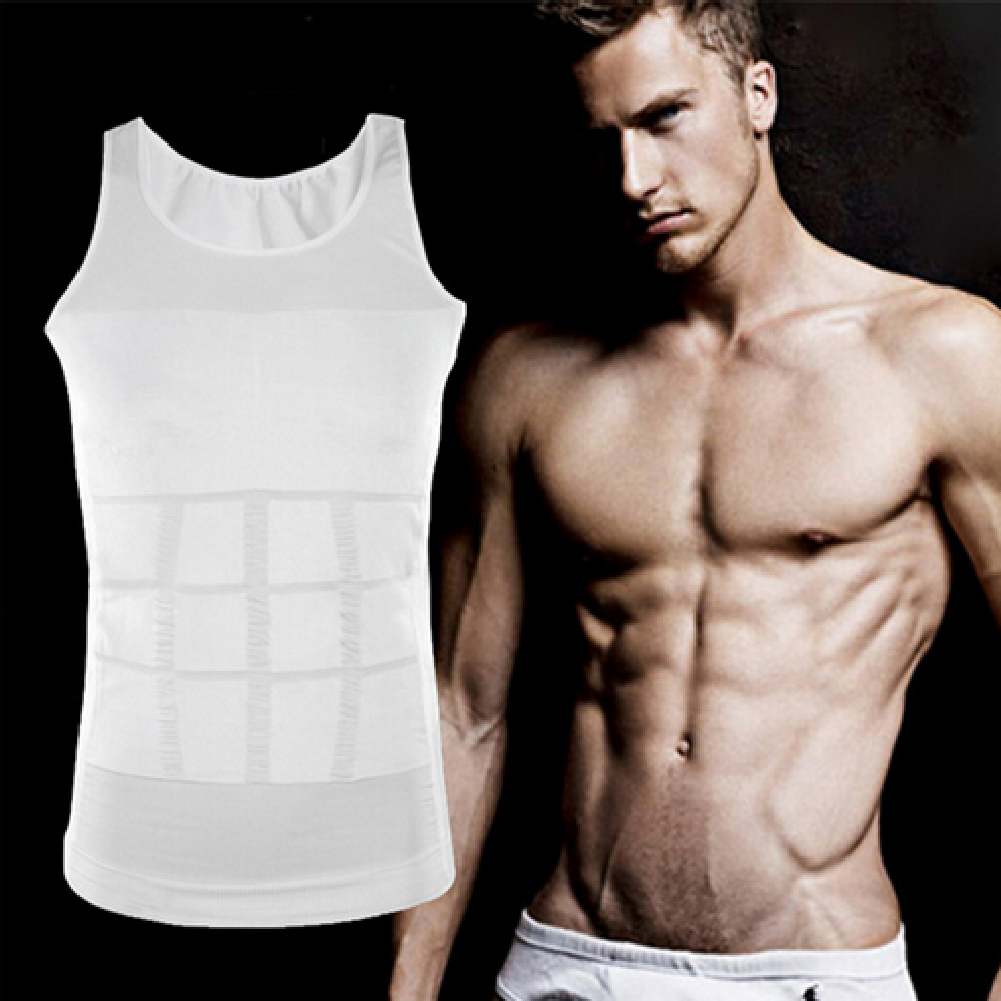 Hot sale Men casual Knitted Tank Tops male O-Neck Shaper Vest Body Slimming fitness Black White Underwear S-2XL 2 colors