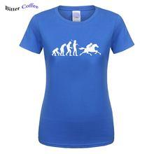 2019 New Ride A Horse Women T Shirts Funny Printed Ape Evolution T-shirt Summer Short Sleeve O-Neck Cotton Female Tops Drop Ship цена