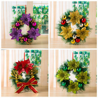 30CM Santa Garland Wreaths Bow Pine Needles Christmas Decoration Home Party New Year Christmas Decoration Gift