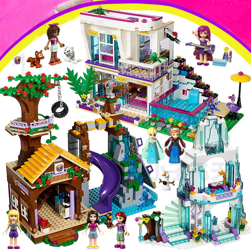 Girls <font><b>LegoINGlys</b></font> Friends Building Blocks Compatible Princess Castle Girl Livi's house City Hospital Elves Dragon Bricks Toys image