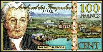 La Isla Kerguelen 100 francos de billete original 2012 UNC colección Mundo Asia genuino colección de monedas de regalo de dinero