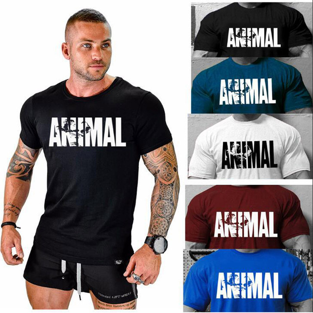 2018 hot ANIMAL T Shirt men cotton round collar muscle exercise fitness strong and handsome mens